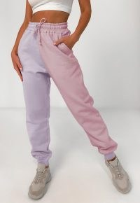 Missguided petite pink colour block missguided oversized joggers