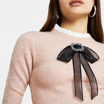 RIVER ISLAND Pink bow detail jumper – rufflr neck jumpers – frill detailed sweater - flipped