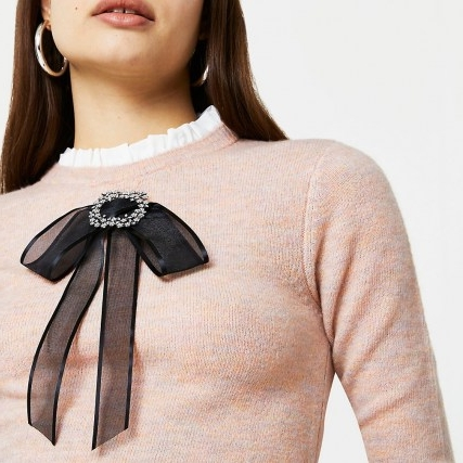 RIVER ISLAND Pink bow detail jumper – rufflr neck jumpers – frill detailed sweater