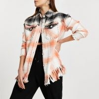 RIVER ISLAND Pink check print studded oversized shirt / western style stud covered shirts / fringe hem