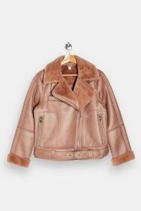 TOPSHOP Pink Faux Leather And Faux Fur Biker Jacket