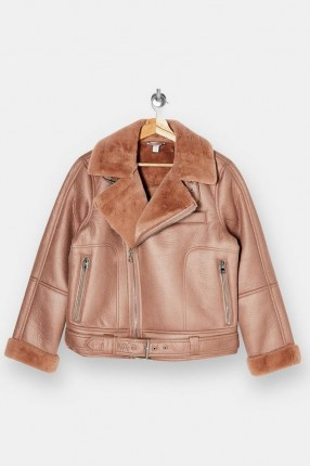 TOPSHOP Pink Faux Leather And Faux Fur Biker Jacket - flipped