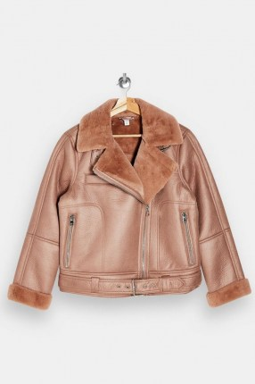 TOPSHOP Pink Faux Leather And Faux Fur Biker Jacket