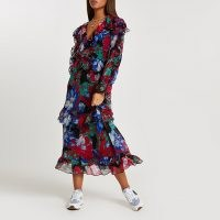 River Island Pink floral frilled midi dress ~ floaty dresses with frills and ruffles