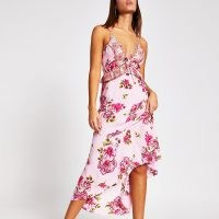 RIVER ISLAND Pink floral plunge neck maxi beach dress ~ beachwear ~ poolside fashion