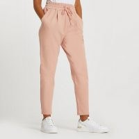 RIVER ISLAND Pink ponte pleated joggers
