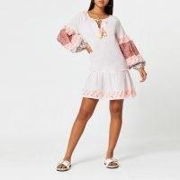 RIVER ISLAND Pink printed smock beach mini dress ~ boho beachwear