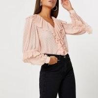 RIVER ISLAND Pink ruffle v neck long sleeve blouse top ~ ruffled tops