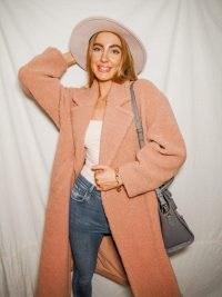 STYLE CHEAT JORGIA BLUSH TEDDY COAT ~ textured dusty pink coats