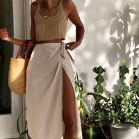 Wrap skirts and cropped tanks…summer's almost here! | neutral outfits for warm weather | neutrals