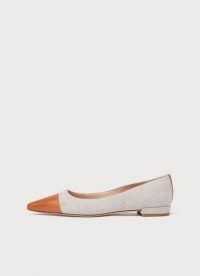 L.K. BENNETT PIPPA CANVAS AND TAN LEATHER FLATS