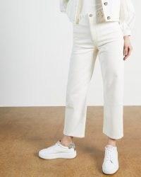 Ted Baker PLATEL Plaited waistband straight leg jean | white denim crop leg jeans