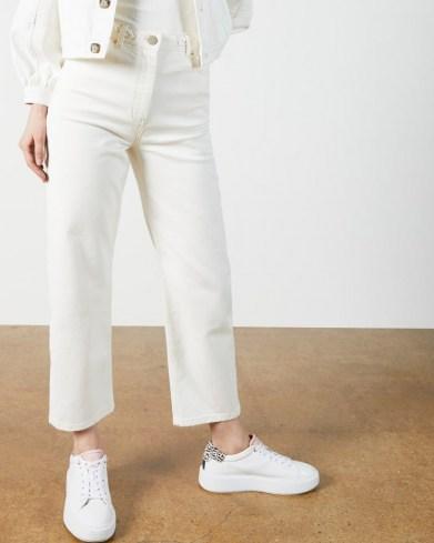 Ted Baker PLATEL Plaited waistband straight leg jean | white denim crop leg jeans - flipped