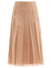 GUCCI Pleated chiffon midi skirt ~ sheer overlay pleat detail skirts