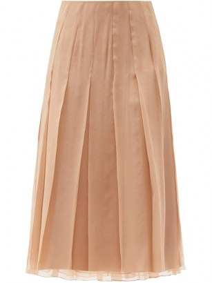 GUCCI Pleated chiffon midi skirt ~ sheer overlay pleat detail skirts - flipped