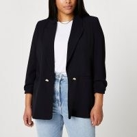RIVER ISLAND Plus black soft blazer ~ smart plus sixe jackets ~ ruched sleeve blazers
