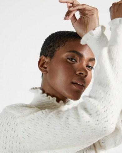 TED BAKER YOLLIEY Pointelle mid gauge sweater – white frill trimmed sweaters – feminine knitwear - flipped