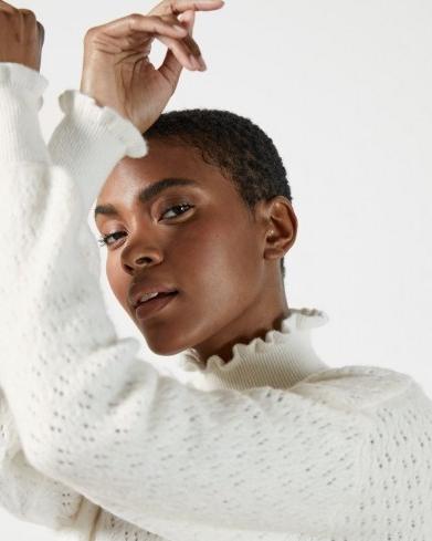 TED BAKER YOLLIEY Pointelle mid gauge sweater – white frill trimmed sweaters – feminine knitwear