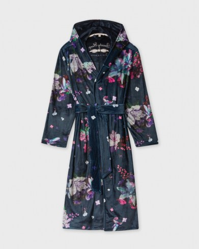TED BAKER JAMS Pomegranate long robe / floral dressing gown with hood / hooded nightwear robes - flipped
