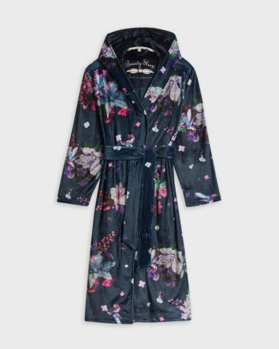 TED BAKER JAMS Pomegranate long robe / floral dressing gown with hood / hooded nightwear robes