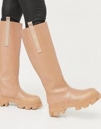 Public Desire Genius knee high chunky boots in tan