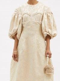SIMONE ROCHA Puff-sleeve floral-brocade dress – romantic luxe dresses