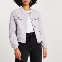 River Island Purple faux leather quilted bomber jacket – pocket and button detail jackets