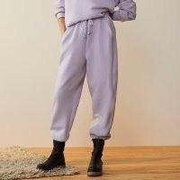 RIVER ISLAND Purple RI Studio cuffed joggers ~ drawstring waist jogging bottoms with gathered cuff hems