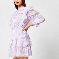River Island Purple tie dye ruffle long sleeve dress   tiered dresses   semi sheer   volume cropped sleeves