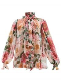 DOLCE & GABBANA Pussy-bow camelia-print silk-chiffon blouse ~ romantic Italian blouses ~ high neck and floral prints