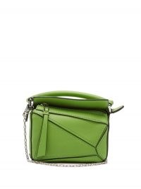 LOEWE Puzzle nano leather cross-body bag in green ~ small top handle bags