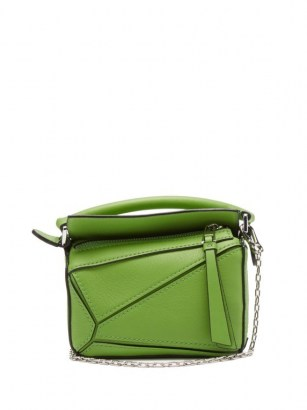 LOEWE Puzzle nano leather cross-body bag in green ~ small top handle bags - flipped