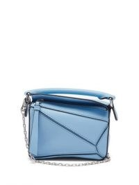 LOEWE Puzzle nano blue-leather cross-body bag ~ small silver chain starp handbag