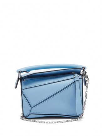 LOEWE Puzzle nano blue-leather cross-body bag ~ small silver chain starp handbag - flipped