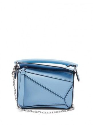 LOEWE Puzzle nano blue-leather cross-body bag ~ small silver chain starp handbag