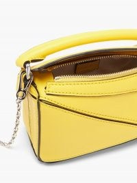 LOEWE Puzzle nano yellow-leather cross-body bag – bright sunny crossbody bags – boxy shape