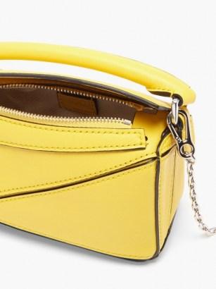 LOEWE Puzzle nano yellow-leather cross-body bag – bright sunny crossbody bags – boxy shape - flipped