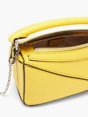 LOEWE Puzzle nano yellow-leather cross-body bag – bright sunny crossbody bags – boxy shape