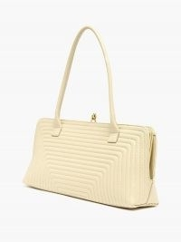 JIL SANDER Quilted-leather shoulder bag in cream ~ vintage shaped handbag