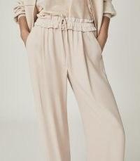 REISS RAYA WIDE LEG TROUSERS BLUSH / drawcord gathered waist pants