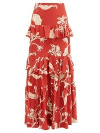 JOHANNA ORTIZ Real Thinking floral silk-georgette maxi skirt / long red tiered skirts / ruffled tiers