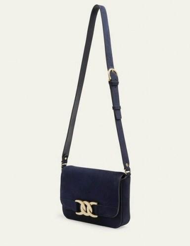 Boden Rebecca Crossbody Bag Navy Suede - flipped