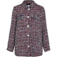 RIVER ISLAND Red check print boucle shacket ~ textured tweed style shackets