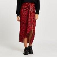 River Island Red printed twist front midi skirt | asymmetric skirts