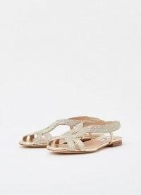 L.K. BENNETT RENEE GOLD LUREX ROPE FLAT SANDALS ~ metallic flats