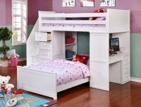 Factory Bunk Beds RESORT LIFE TWIN OVER TWIN STAIRCASE STUDENT LOFT BED IN CLOUD WHITE (EOLA COLLECTION)