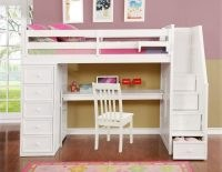 Factory Bunk Beds RESORT LIFE TWIN SIZE LOFT BED WITH DESK IN CLOUD WHITE (EOLA COLLECTION)