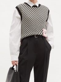 LA FETICHE Riley logo-patch wool sleeveless sweater / checked tanks / check pattern tank / knitwear