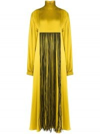 Roksanda fringe detail front silk dress ~ high neck maxi dresses