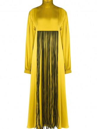 Roksanda fringe detail front silk dress ~ high neck maxi dresses - flipped